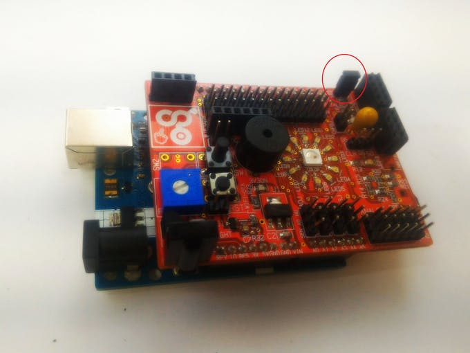 Enable the led ring on idIoTware shield using the jumper to the 2 PIn LED_EN header