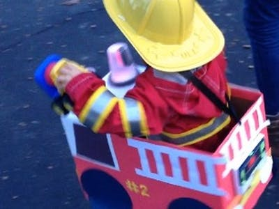 Making a Fire Truck Costume from a Diaper Box and iPhone