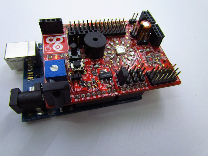 The Lm35 temperature sensor is Connected to SEL0 3 pin header ,we need to connect jumper to enable the LM35