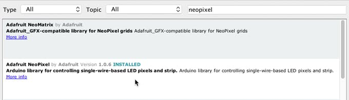 Search for NeoPixel