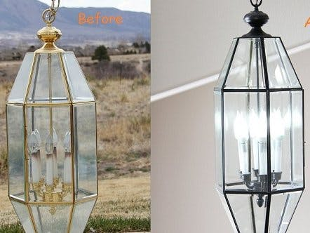 Renew Old Brass Light Fixture into Oil Rubbed Bronze