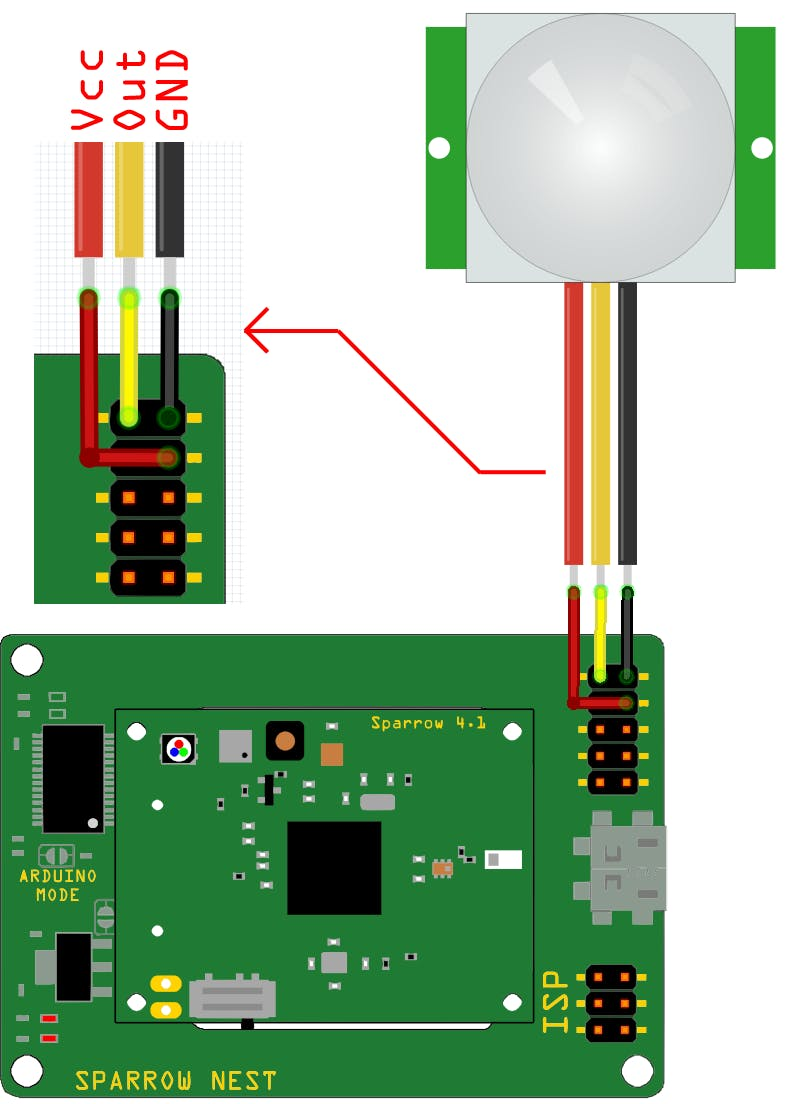 PIR sensor connection diagram
