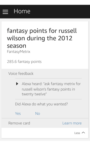 Alexa, ask FantasyMetrix for Russell Wilson's fantasy points in 2012
