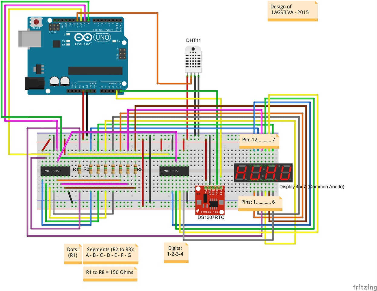 Digital Clock With Arduino Rtc And Shift Register 74hc595 6 Hour Timer Circuit Diagram