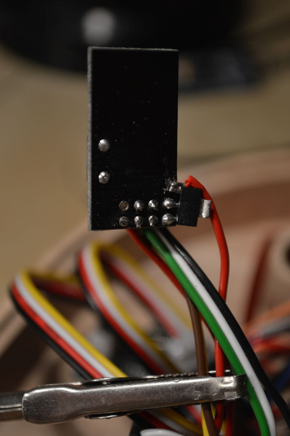 The red wire goes to the 5V supply in the circuit.
