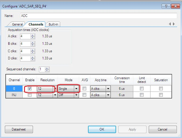 Setting Single ended mode on ADC
