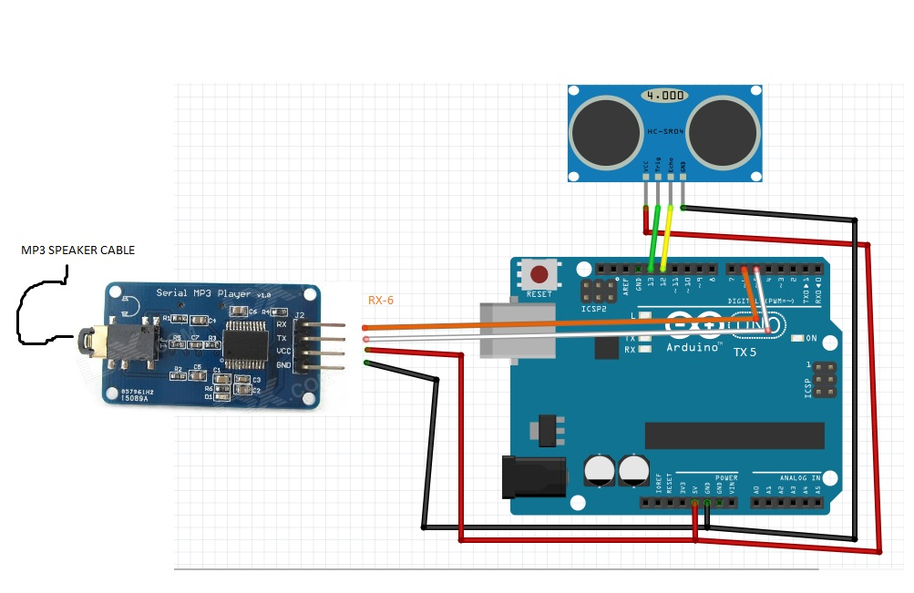 Arduino mp player distance sensor fun hackster
