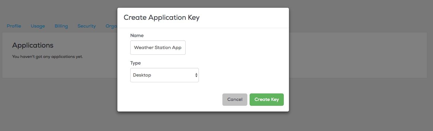 Create Application Key