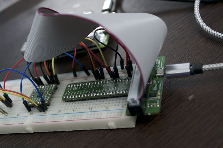 Connecting a USB cable to access the Pi's serial console