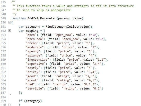 Code mapping user qualifier to numeric range