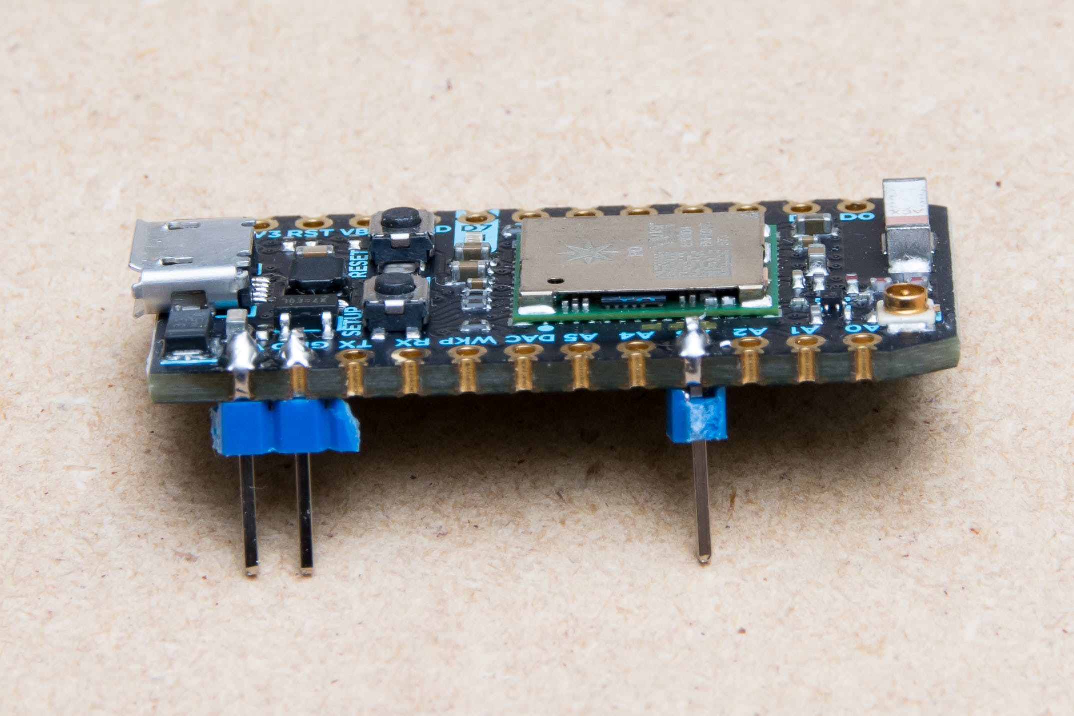 Headers soldered to Photon