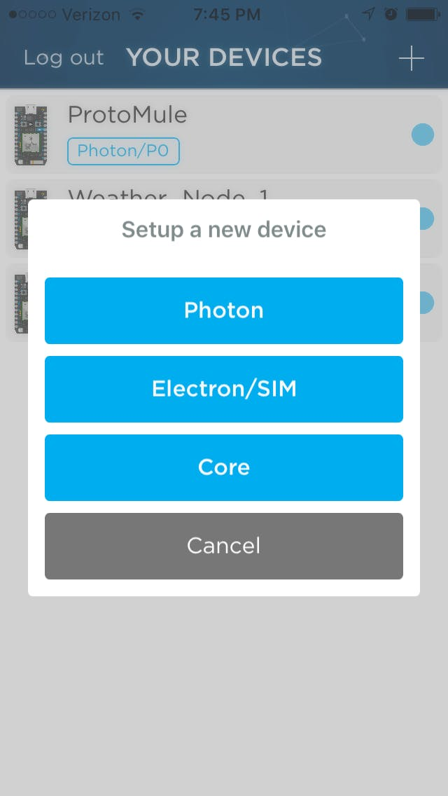 Touch the Photon button to indicate what type of new device we're adding.