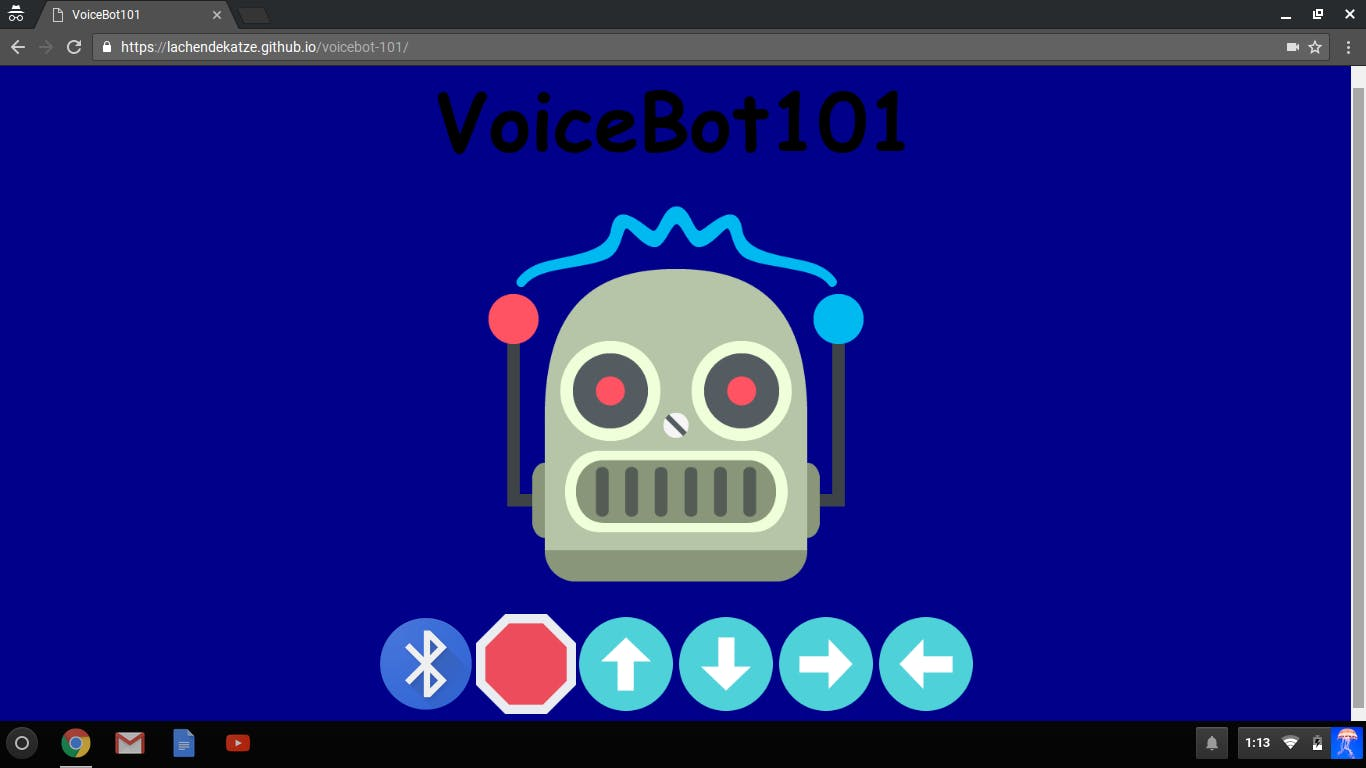 The VoiceBot101 UI is a website hosted on github pages.