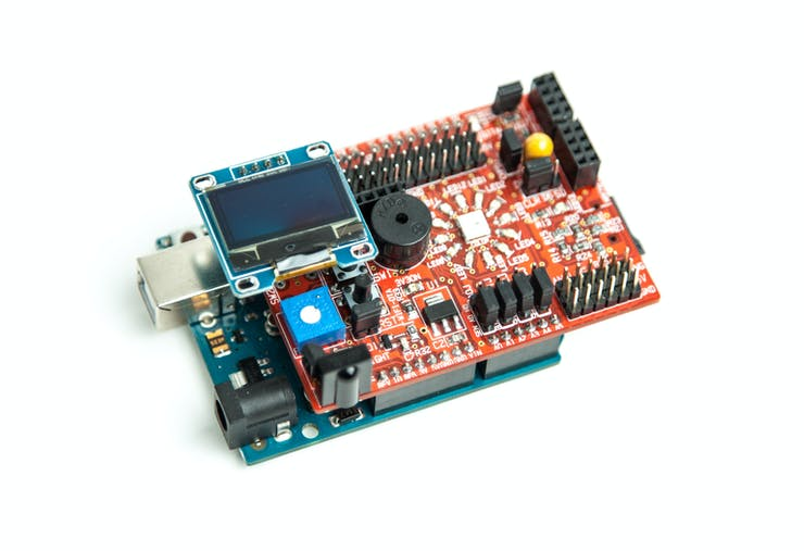Connect the i2c oled display on i2c header pin.Note Verify the connections on shield before powering the shield