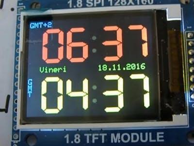 "Adjusting Dual Clock using DS3231 on 1.8"" ST7735 Display"