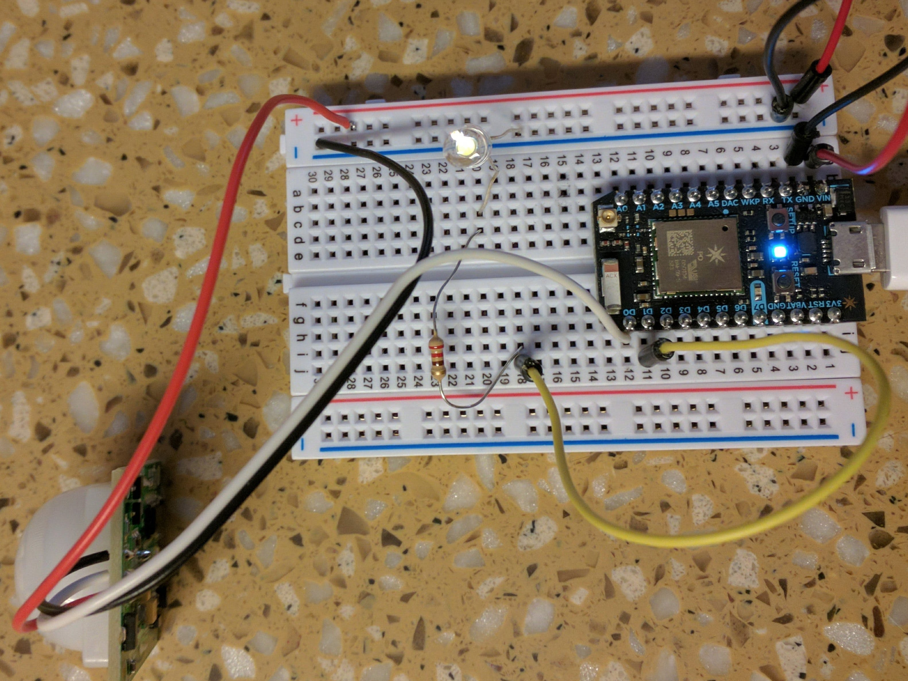 Particle Photon PIR Sensor and Event Reporting