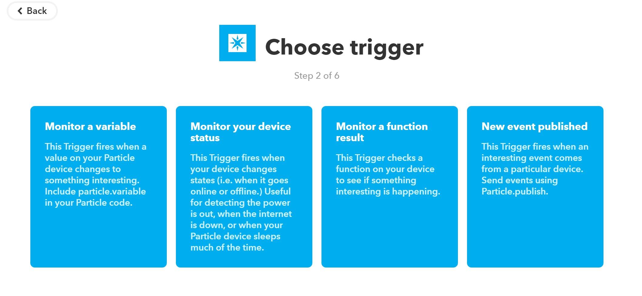 Choose the event published trigger