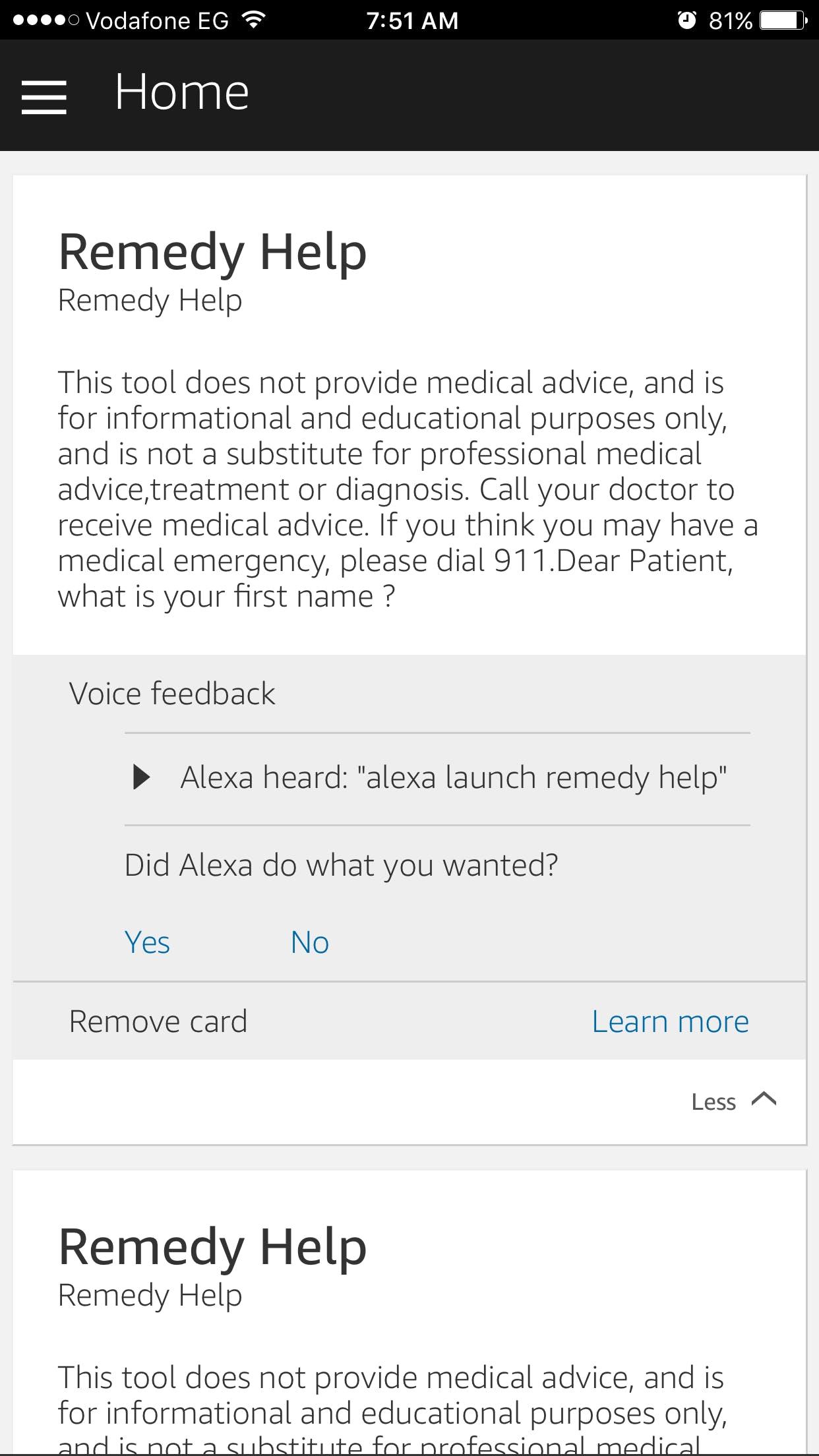 Alexa application on iPhone