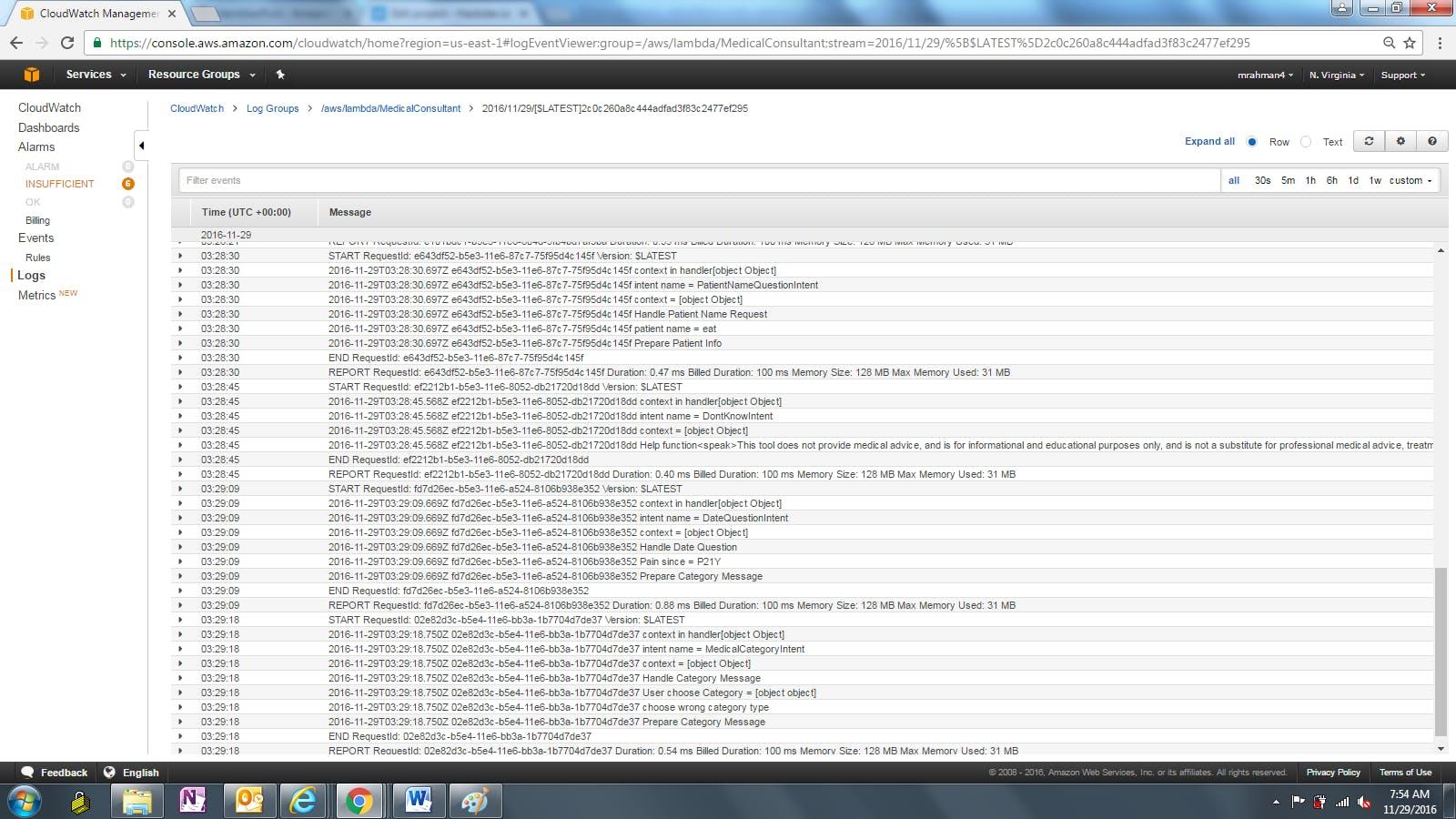 CloudWatch logs