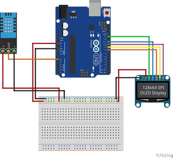 Arduino oled thermometer and hygrometer with dht