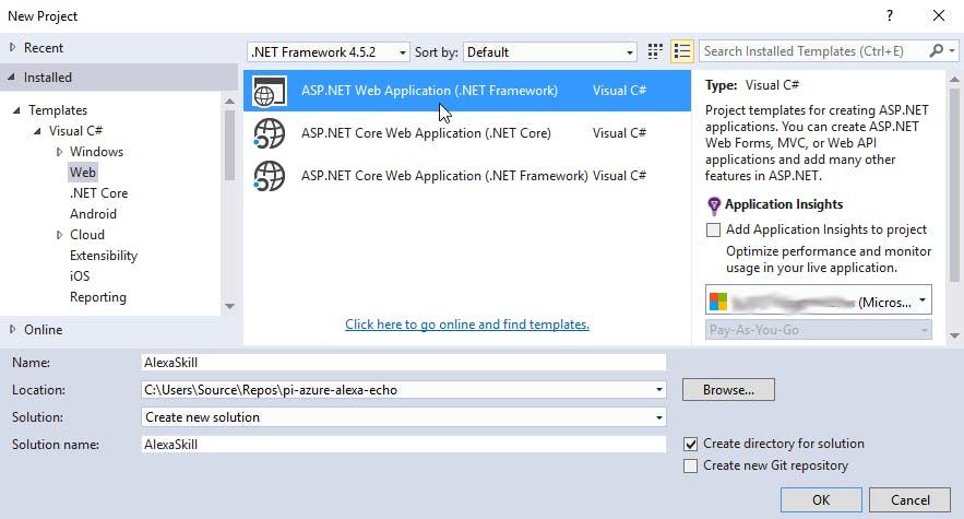 Create a new ASP.NET Web Application