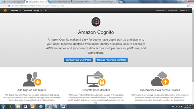 Go to: https://console.aws.amazon.com/cognito/home?region=us-east-1