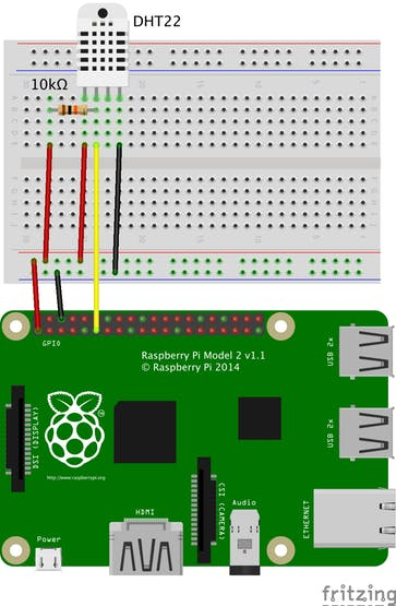 breadboard wiring diagram of the dht22 sensor and raspberry pi 2