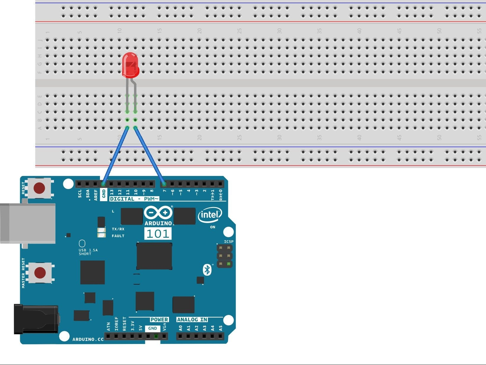 Arduino 101 BLE with Sparkfun Blynk App