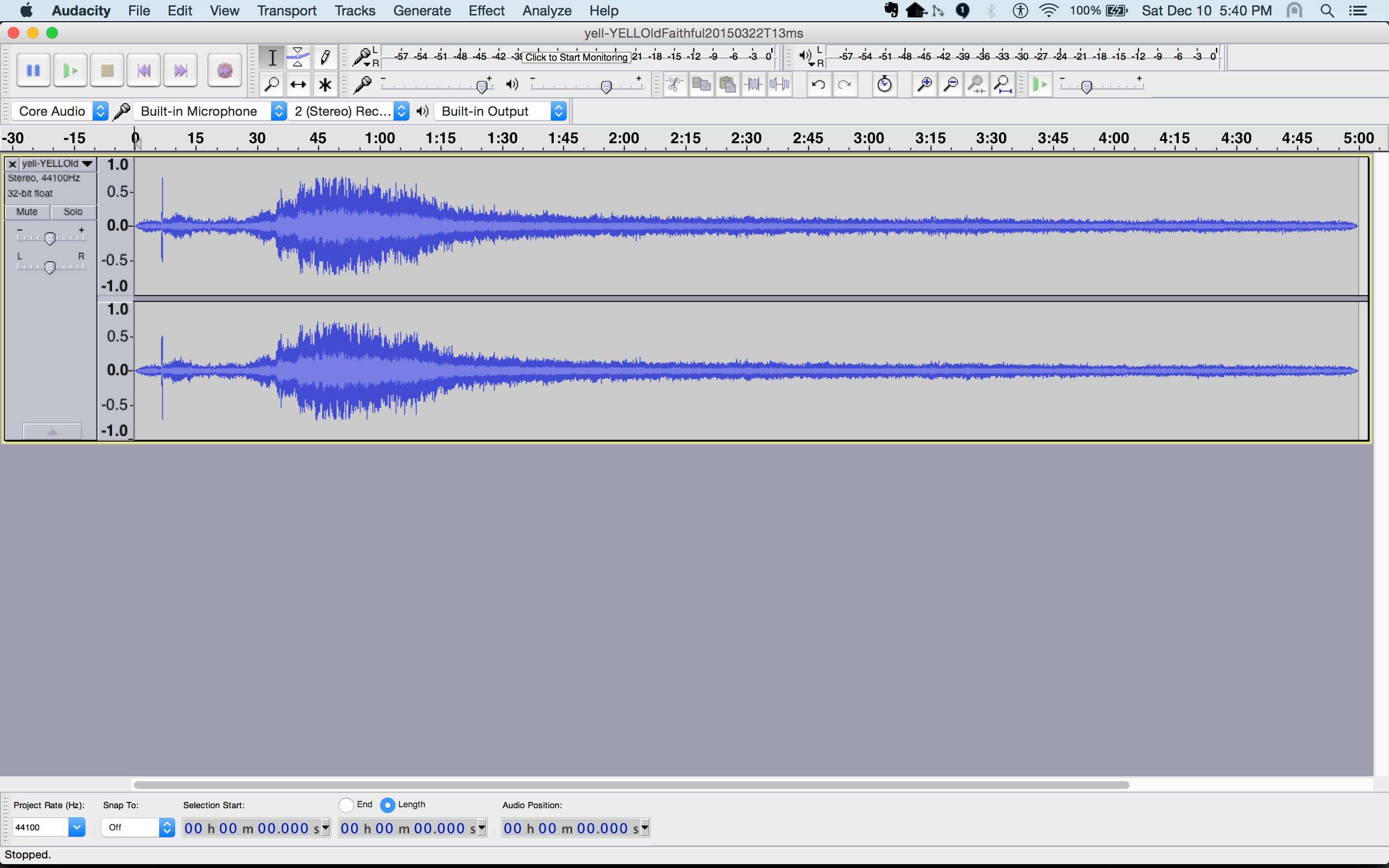 Open an audio file, listen to it, and identify a short segment to use. I used ~10 seconds.