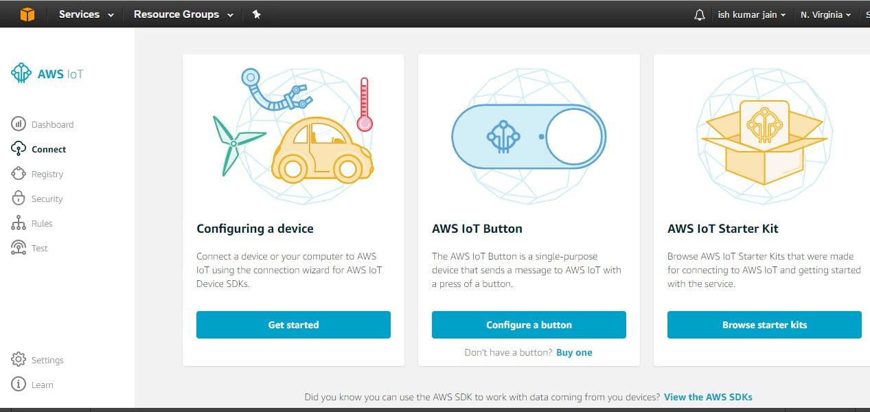 1. Go to Amazon AWS IoT -> configure a device.