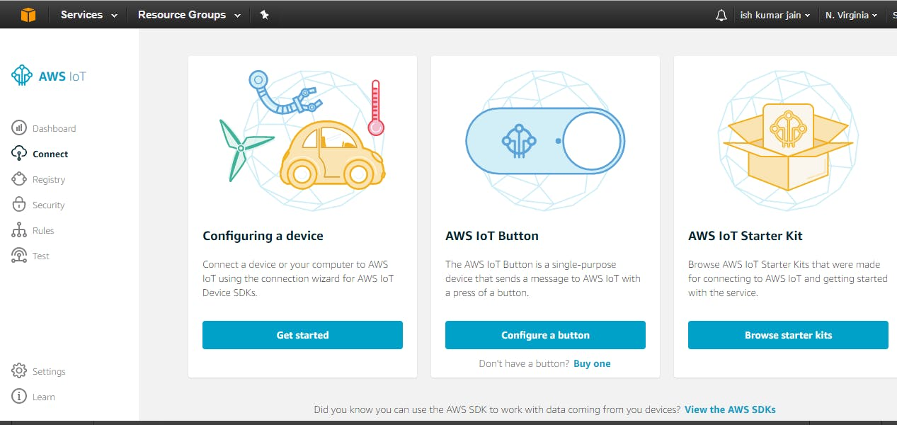 1. Go to Amazon AWS IoT -> configure a device.