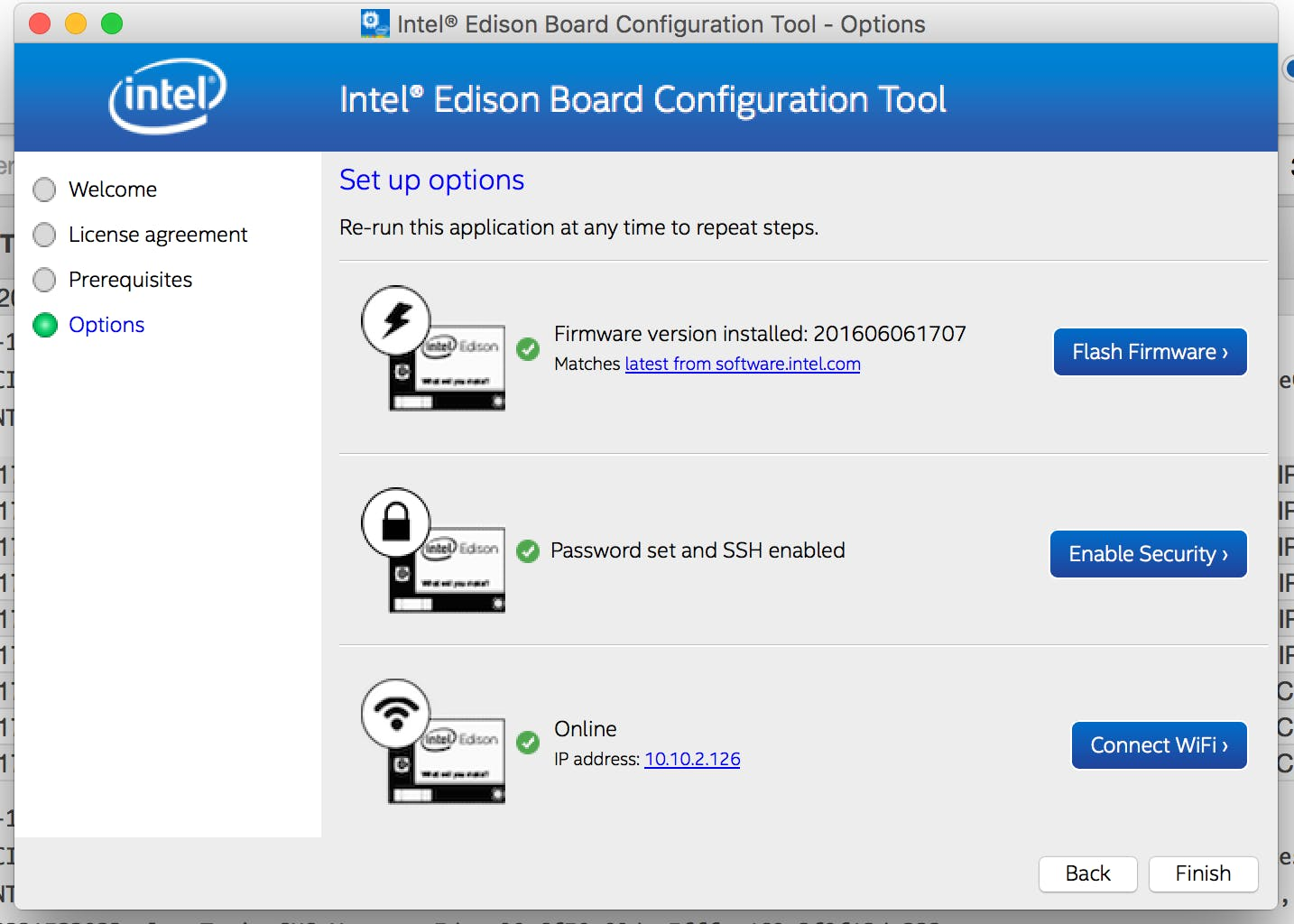 1. Configure Intel Edison Board.