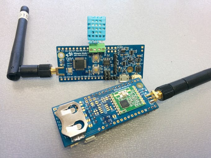 """The """"final"""" assembly now directly into the Whisper Node and using the CR2032 battery."""