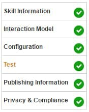 Alexa Skill Configuration Checklist