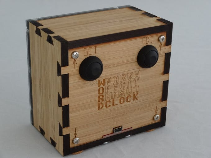 The back, showing dovetails, buttons, label and USB socket for power.