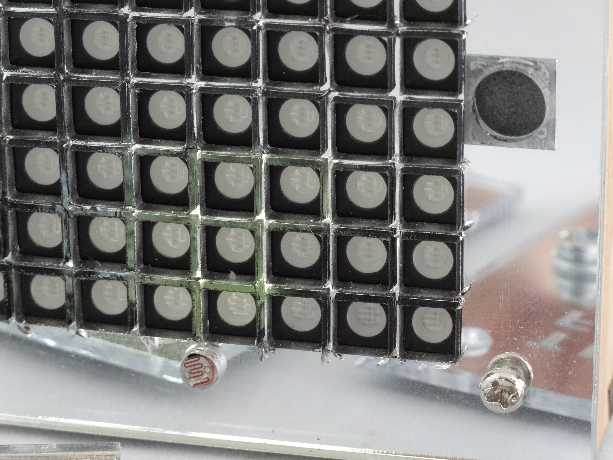 Close-up of cells.  Also LDR and magnets