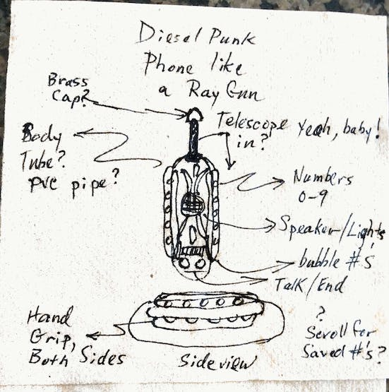 Early concept sketch for DieselPunk Cellphone