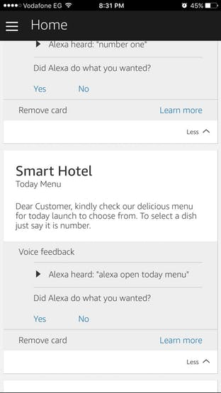 Alexa ask customer about his choice