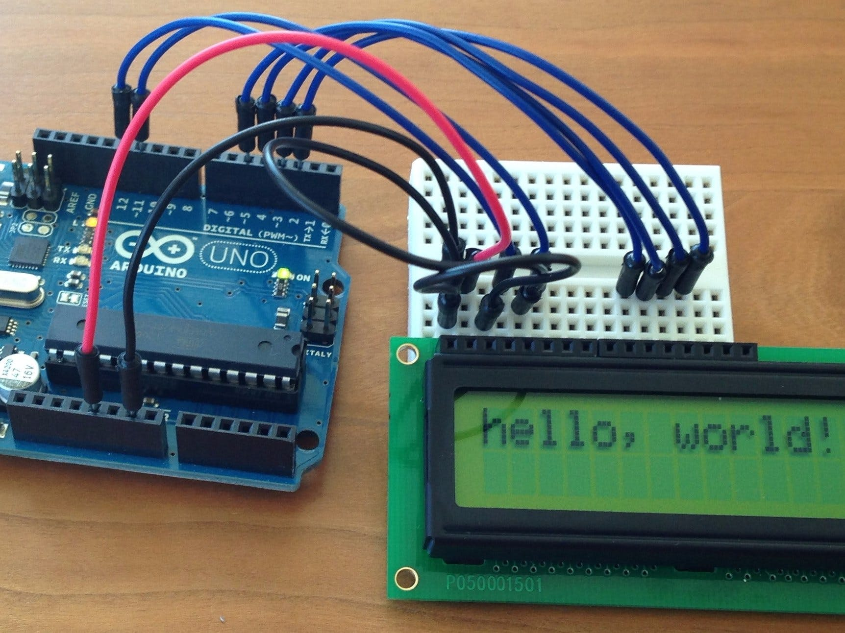 "LCD display ""hello,world"""