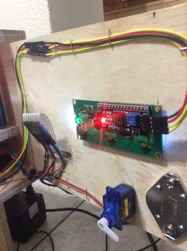 This section is using a servo motor for permitted access, LCD 16x2 characters using I2C interface, plus a 4x4 matrix keyboard