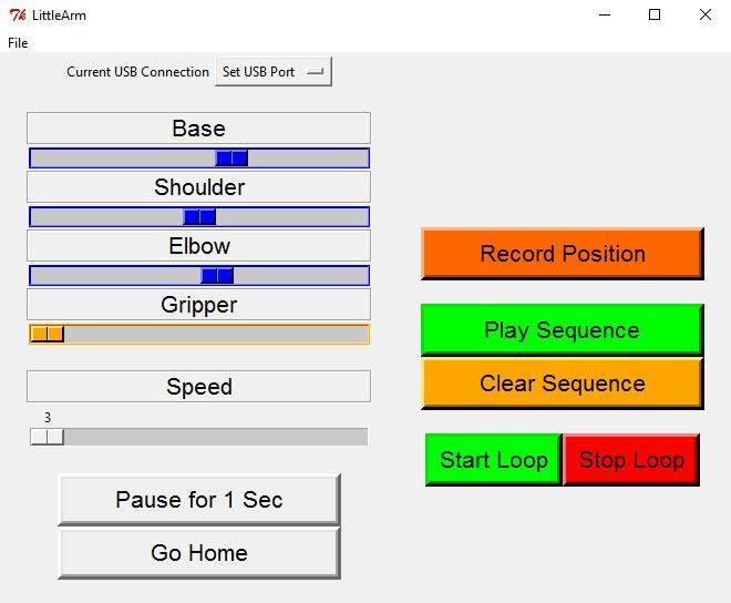 New LittleArm Desktop App Layout
