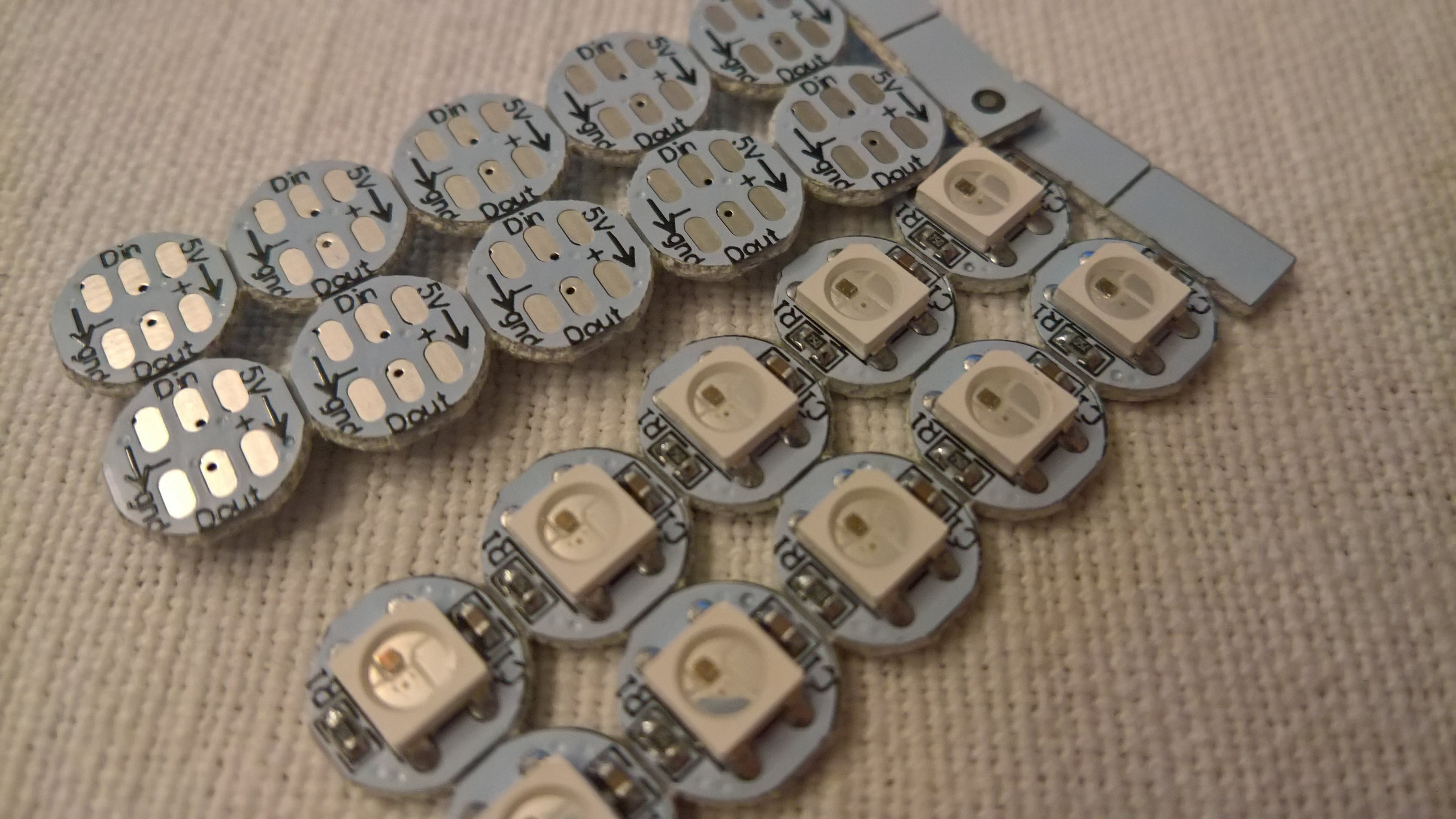 The individual WS2812 controlled LEDs I got came in sections of 10, easily cuttable