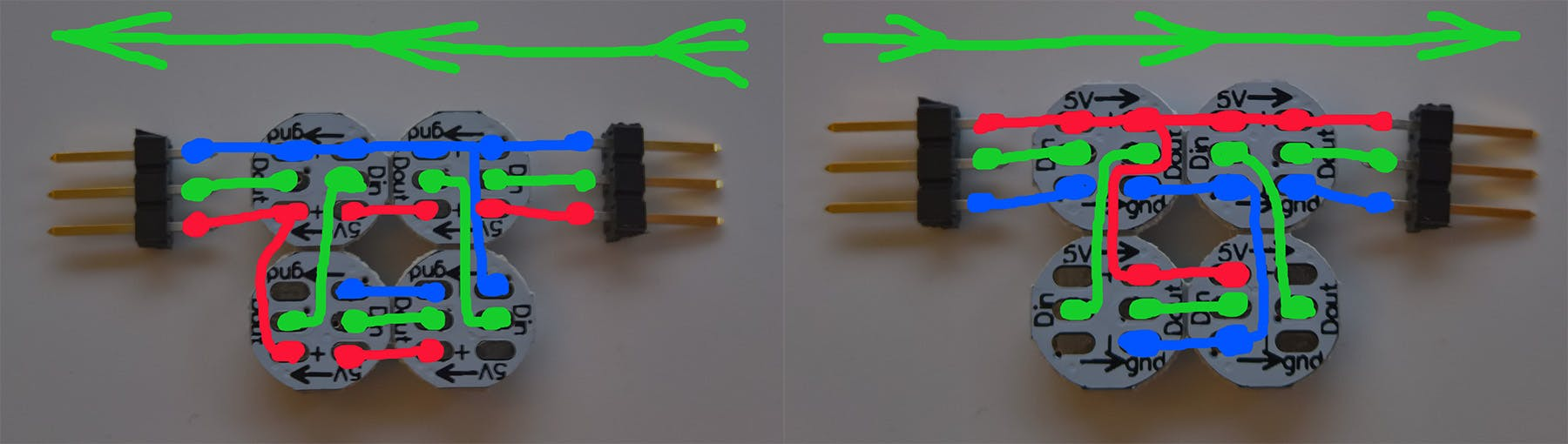 Red lines = 5V, blue = GND and green = Data