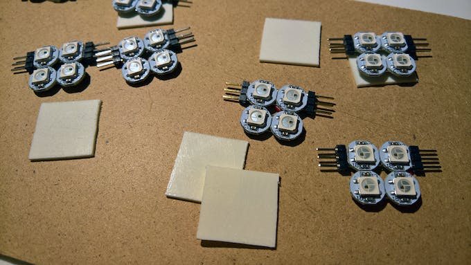 Plastic squares to cover the backside of the LED modules