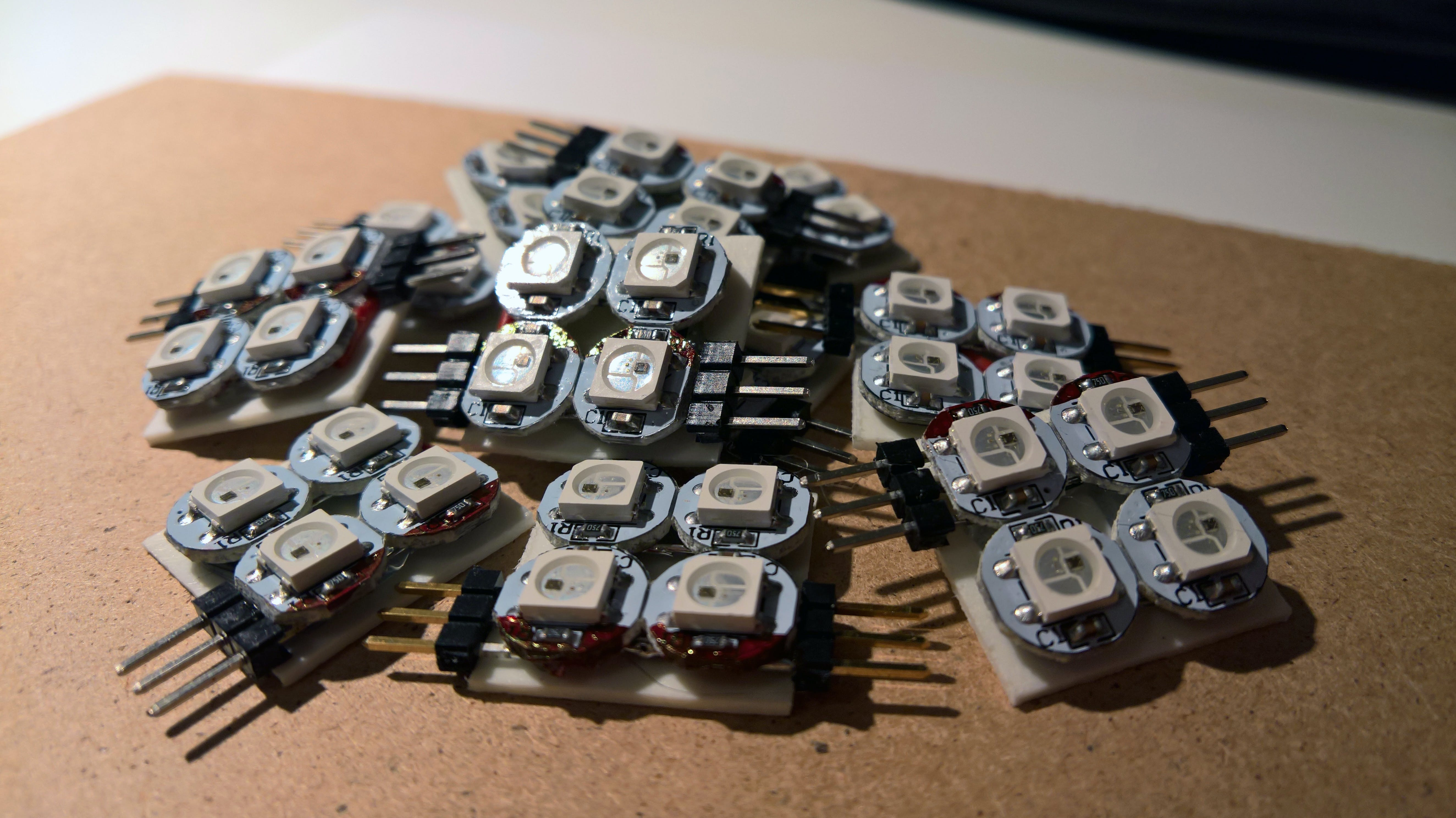 The eleven completed LED modules