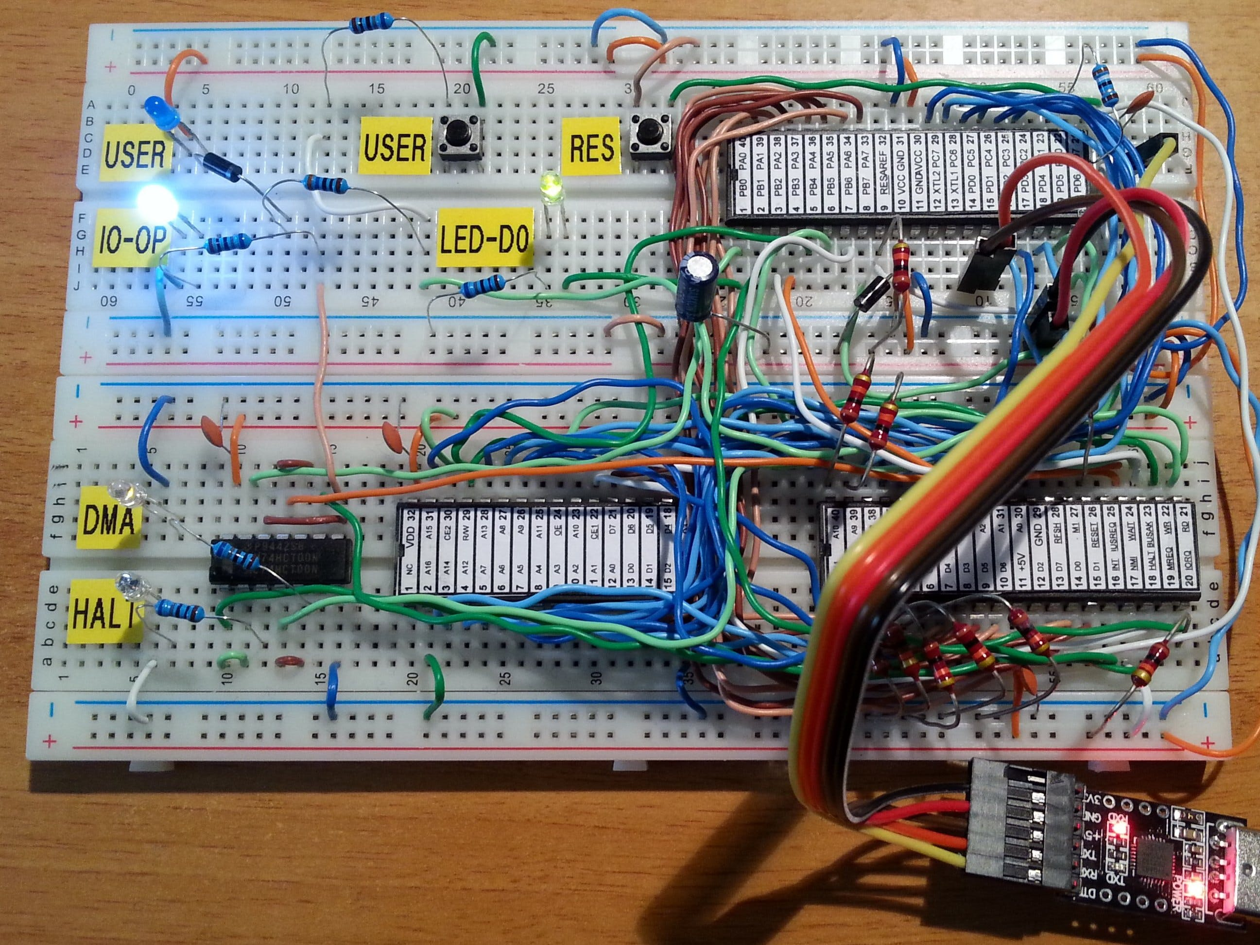 A $4, 4 x IC, Z80 Homemade Computer on Breadboard