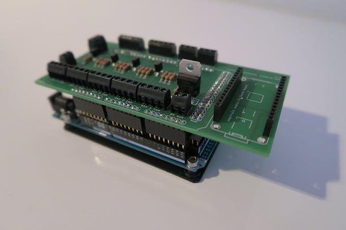 Custom PCB mounted on Arduino Mega + the 3D printed Arduino mount