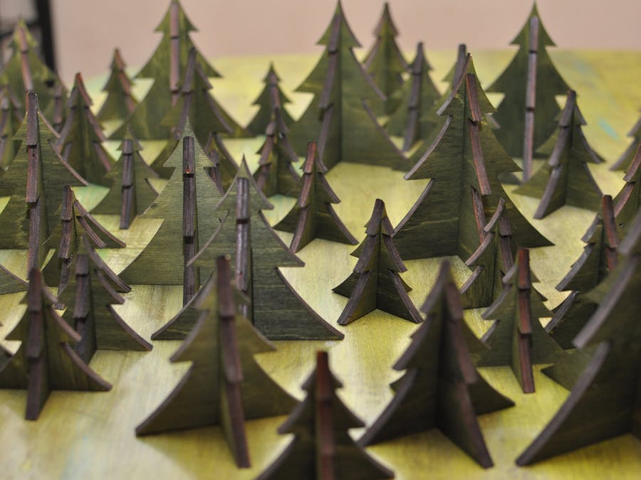 Laser Cut Christmas Tree Forest