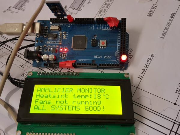 Fan controlled by ds b temperature sensor with lcd