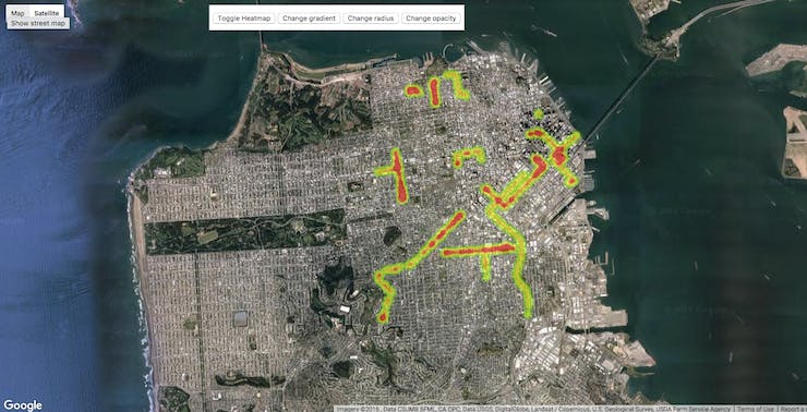 Pollution in the city is monitored through heatmap